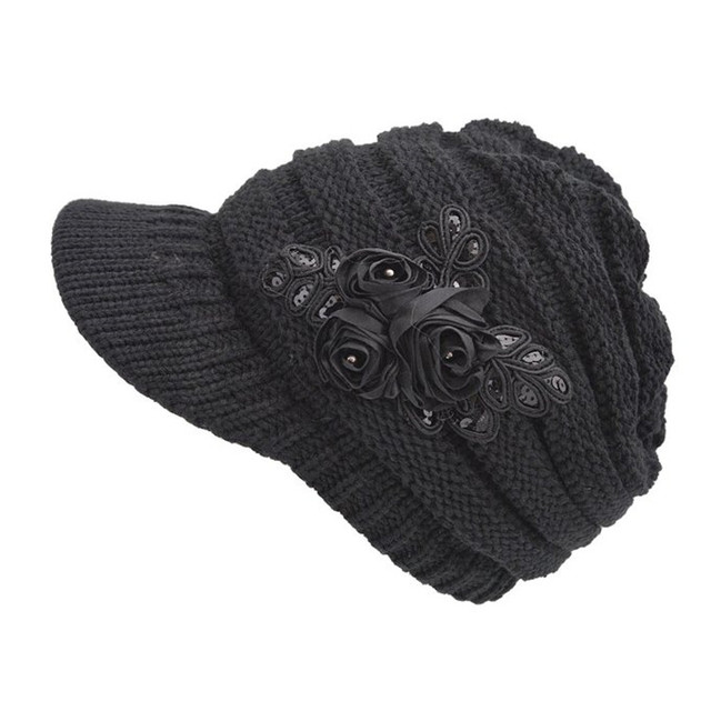ec95606ba62 Women s Cable Knit Visor Beanie Hat Beret with Flower Accent Knitted  Earflap Cap