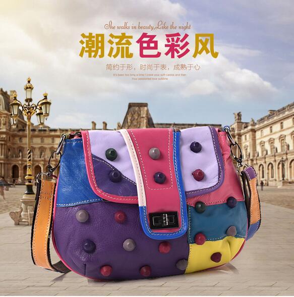 ФОТО Women's sheepskin rivet bag small shoulder bag genuine leather  patchwork bag lock-button flap bag