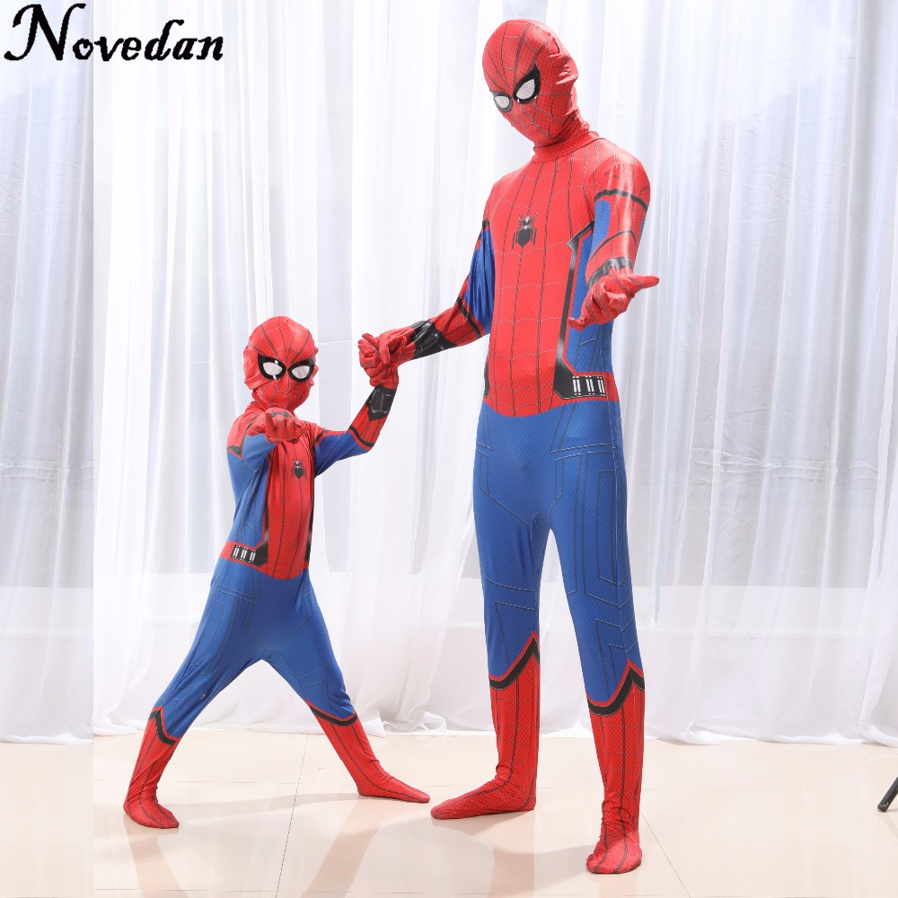 Homecoming Spiderman Costume Kids Child Amazing Spider Man Mask Costume Suit Boys Spandex Red Purim Halloween Adult Men Cosplay