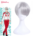 L-email wig Brand New Anime Yuri!!! on Ice Cosplay Wigs Victor Nikiforov Yuri Plisetsky Short Synthetic Hair Peruca Cosplay Wig
