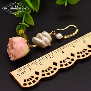 Image 5 - GLSEEVO naturalne słodkowodne barokowe perły spadek kolczyki dla kobiet Party naprawdę kwiat Handmade luksusowa romantyczna biżuteria GE0492