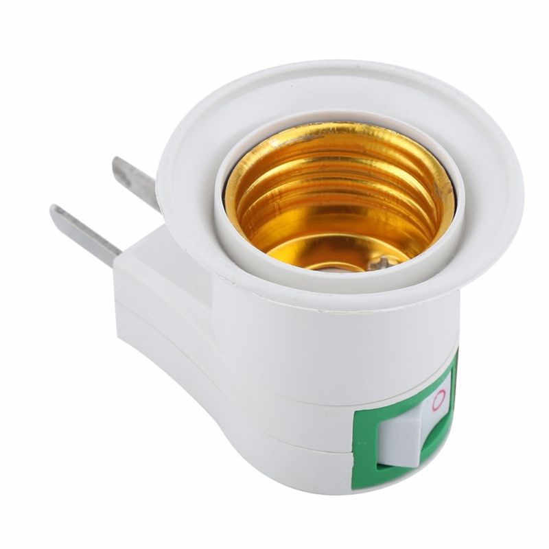 1PCS E27 Lamp Base EU Plug Wall Screw Base Light Bulb Lamp Socket Holder Adapter Converter 220V With ON/OFF Switch