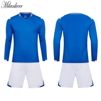 2017 Men Long Sleeve Soccer Jersey Kits Breathable Sport Jerseys Competition Team Uniforms Training Suit Adults