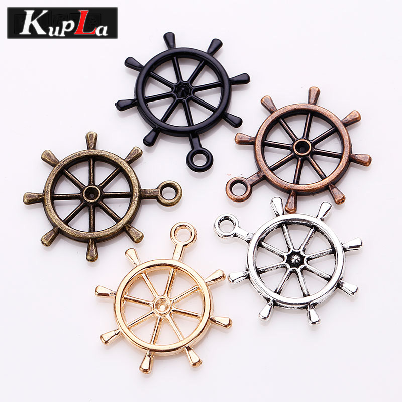 5 Color Metal Nautical Plating Rudder Charms Fashion Classic DIY Jewelry Handmade Charms for Jewelry Making