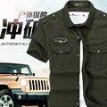 2016 Весна военная качество мужская вскользь марка army green рубашки человек осень 100% хлопок хаки черный длинный рубашка М-5XL
