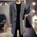 2017 new spring autumn men winter coats men woolen blends peacoat men's warm long wool trench coats men 5z
