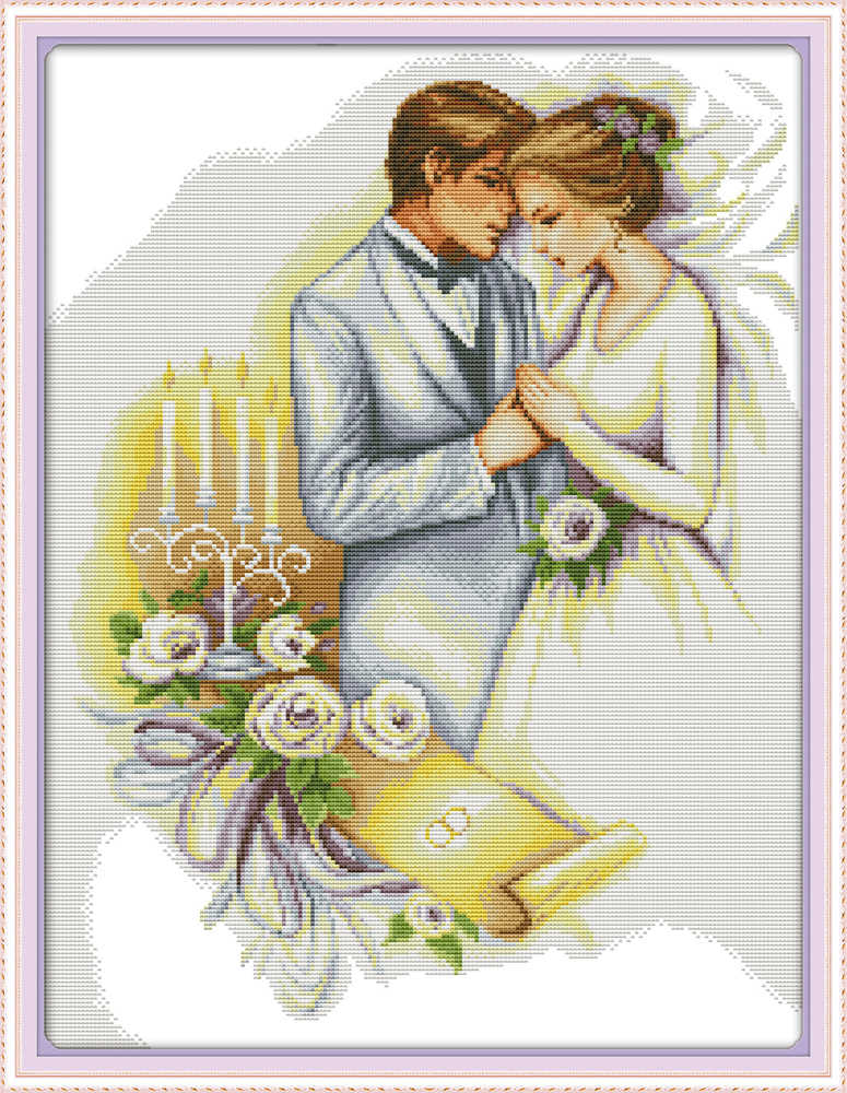 Wedding lovers kiss bride paintings 11CT Counted printed on Canvas DMC 14CT chinese Cross Stitch Embroidery kits Needlework Sets