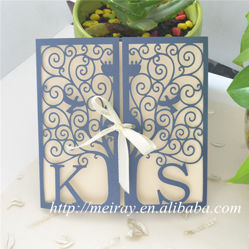 laser cut tree wedding invitations red blue ivory white