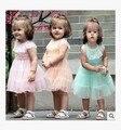 Nova criança do sexo feminino rendas dress verão one piece-dress 0-1 anos de idade em camadas princess dress roupas sopro