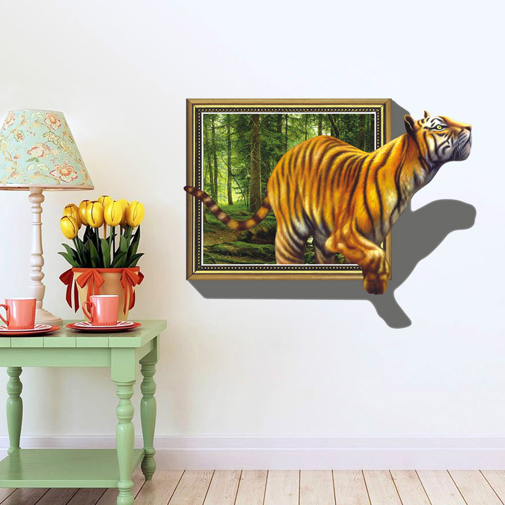 Wall stickers extra - Free Shipping To Russia Brazil Wall Stickers 3d Tigers Picture Frame Extra Large Pvc Removable Kids