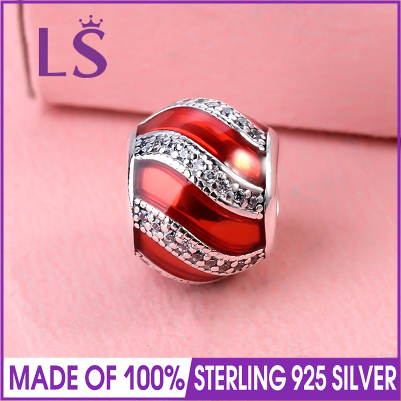 LS High Quality Real 925 Silver Adornment Red Enamel Charm Beads Fit Original Bracelets Pulseira Encantos.100% Real Fine Jewlery