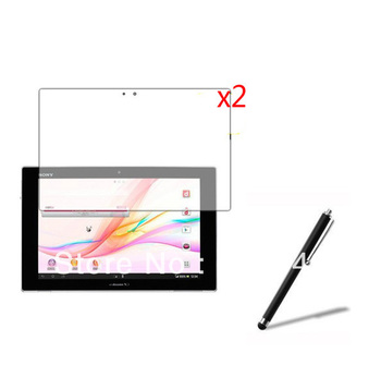 2x LCD Clear Screen Protector Films +1x Stylus Touch Pen for Sony Xperia Tablet Z 10.1' Tablet +Free shipping