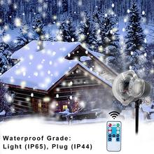 Christmas Led Stage Lamp Waterproof Projector Snowflakes Indoor Lighting Decoration Outdoor Party Snow Scene Garden Light недорого