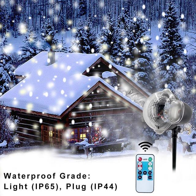 Christmas Led Stage Lamp Waterproof Projector Snowflakes Indoor Lighting Decoration Outdoor Party Snow Scene Garden Light