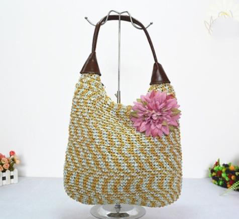 39X30CM New Zealand new model female straw bales v-neck crochet bag design and color female bag Blended color bag A2341