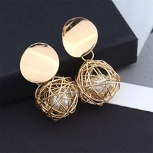 Fashion Gold Earrings 2018 Geometric Earrings Women Pendant Earrings Earrings Earing Modern Jewelry(China)