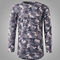 Camouflage Printed Tshirts Men Long Sleeve To Do The Old Tops 2016 Fashion Mens Tee Shirts Hole Male Army Clothes Hip Hop 2XL