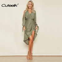 2017 Women Dress Solid Backless Dresses Long Sleeve Asymmetrical Party Dress Vestidos Off Shoulder Summer Dress