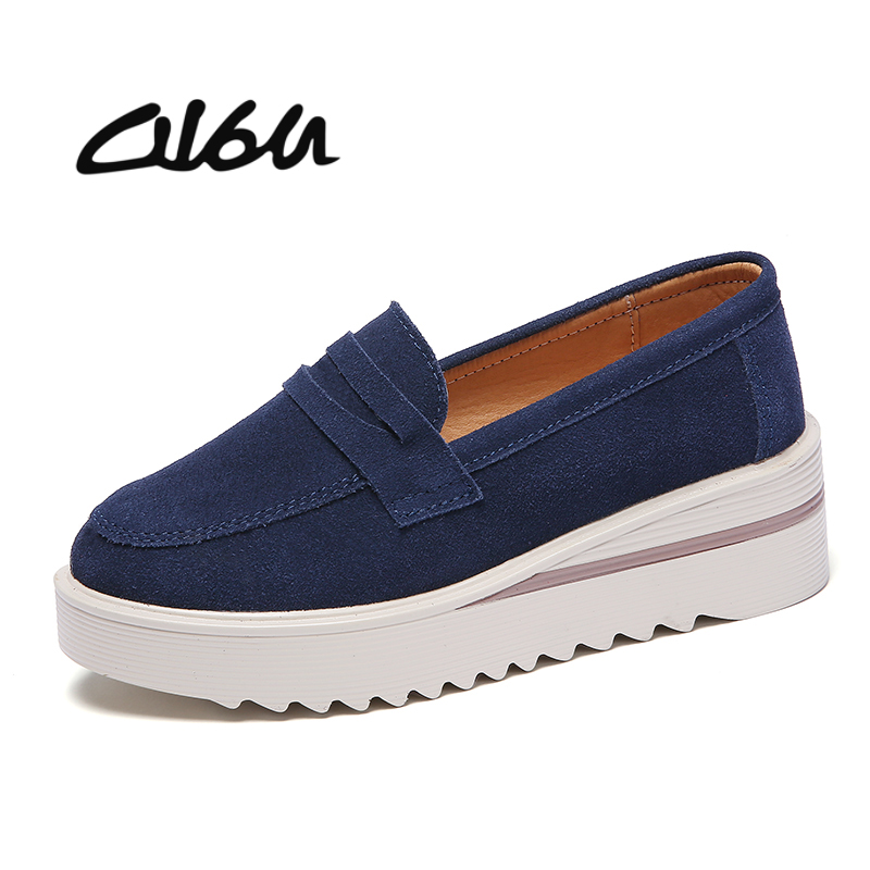 O16U Autumn Women Flat Platform Coin Loafers Suede Leather Slip on Moccains Ladies Spring Shoes Flats