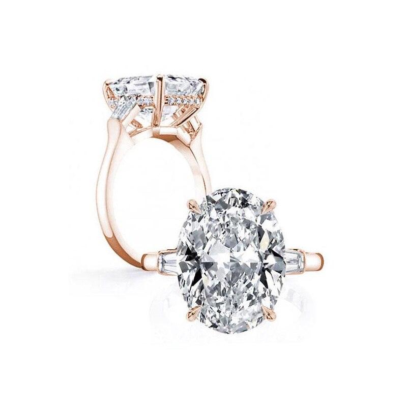 LESF 925 argent Sterling 8.3 ct ovale taille unique pierre étincelante SONA diamant pour les femmes bagues de mariage bijoux de fiançailles