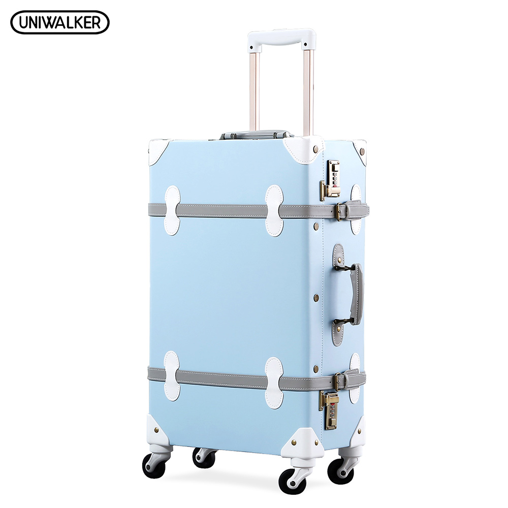 UNIWALKER 20222426 PU Leather Vintage Rolling Luggage Trolley Travel Bag Retro Suitcase with Spinner Wheels