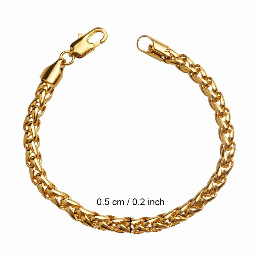 Anniyo mężczyzn bransoletki złoty kolor afryki Chain Link bransoletka arabski bliski wschód biżuteria męskie prezenty #064902