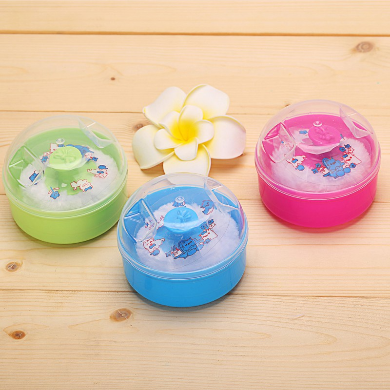 Newborn Soft Face Fluffy Baby Foam Powder Puff Box New Kids Baby Boys Girls Solid High Quality Cartoon Talcum Powder Box 1pcs