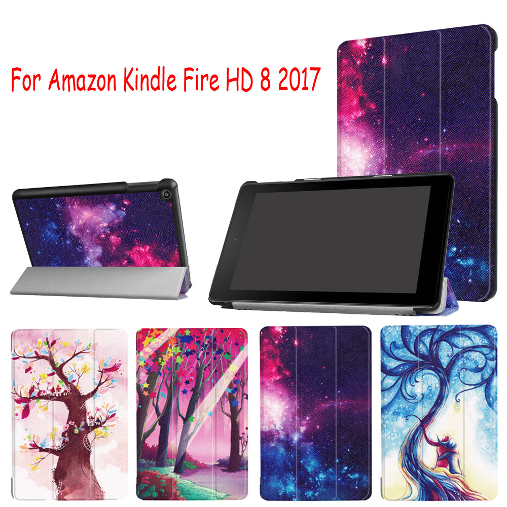Folding Stand Protective Cover Leather Case Cover For Amazon Kindle Fire HD 8 8inch 2018 Tablet Accessories#ZS