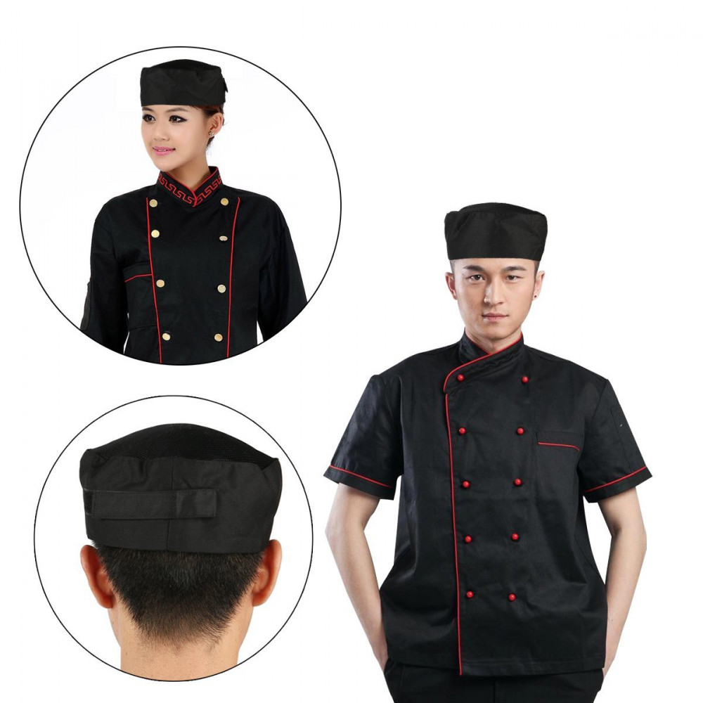 Unisex Professional Chefs Mesh Top Skull Cap For Women Men Restaurant Kitchen Catering Cooking Hat Work Uniform Elastic Kitchen image