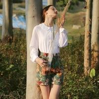LYNETTE'S CHINOISERIE Spring Autumn Original Design Women Vintage Jacquard Green High Waist Shorts