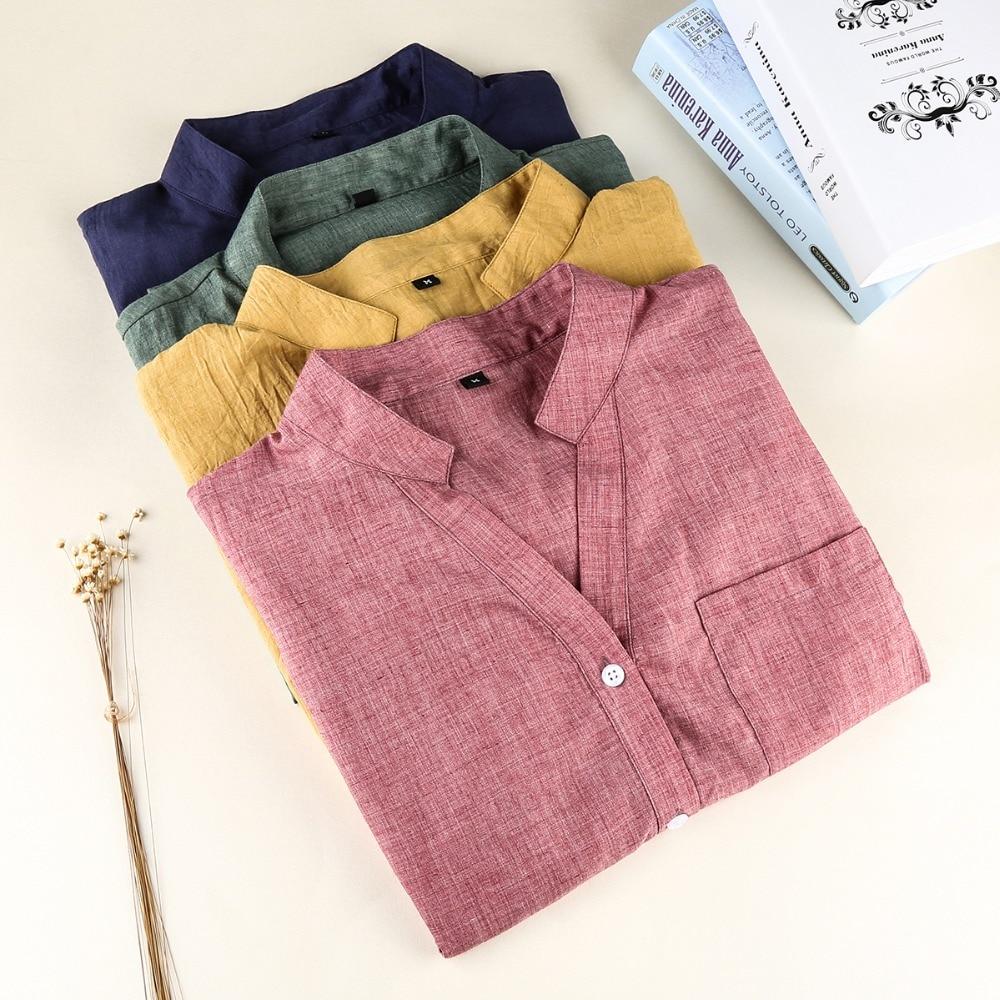 Dioufond ქალთა კორეის პერანგების მოდის მოდის V- კისრის blouse ყოველდღიური ბამბის პერანგი ქალბატონებო ჯიბეები საუკეთესო ქალები Blusas Femininas