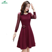 OKXGNZ Spring Women Round Collar Fashion Sexy Dress 2017 New Big yards Pure color Nine Points Sleeve elegant gauze Dress QQ168