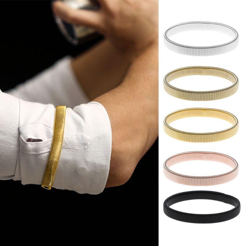 Stretchy Adjustable Metal Shirt Sleeve Holders Armband Anti-Slip Elastic Long Sleeve Shirt Holder Garter Armbands for Men and Women One Size Fits Most