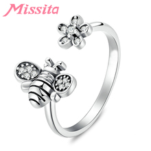 MISSITA Romantic Bee Love Flower Rings For Women Fashion Jewelry Brand Wedding Anniversary Finger Ring HOT SELL Gift