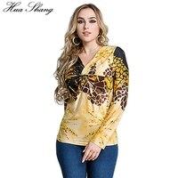 Retro Leopard Print vintage blusa mujeres elegante Cruz tie V Masajeadores de cuello manga larga túnica Tops 4xl 5xl 6xl más tamaño ropa de las mujeres