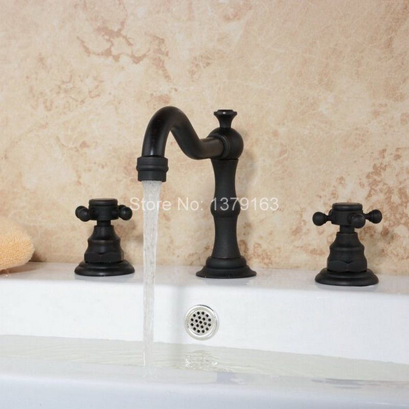 Deck Mounted 3 Holes Bath Tub Mixer Tap Black Oil Rubbed Antique Brass Widespread 2 Handles bathroom basin Faucet anf283