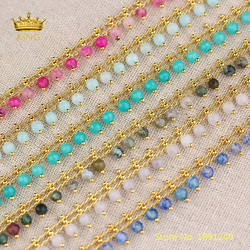 5meters 4mm Stones Beaded Chains Fine Jewelry,Natural Agates Faceted Round Beads Plated Gold Connectors Rosary Chains Bulk HX215