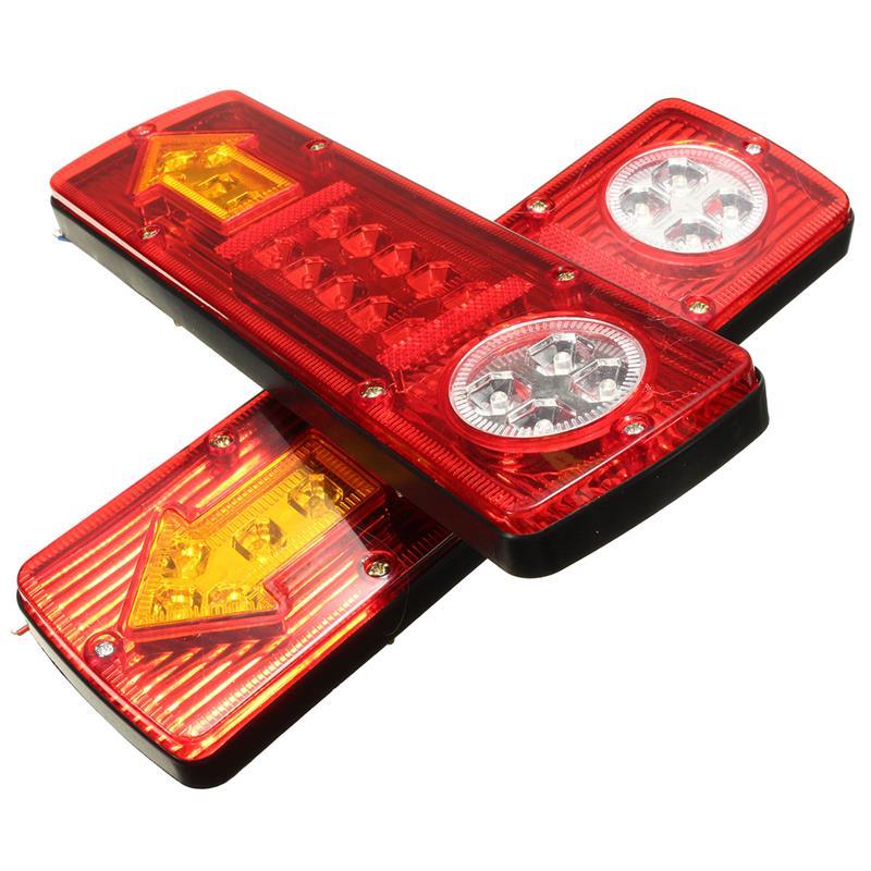 2X 19LED Round Rear Tail Light Brake Reverse Stop Turn Signal Lamp Truck Trailer