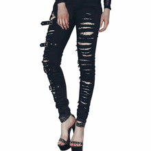 2017 Women Black Cotton Pants Hole Slim Pants Leggings Gothic Punk Style Trousers