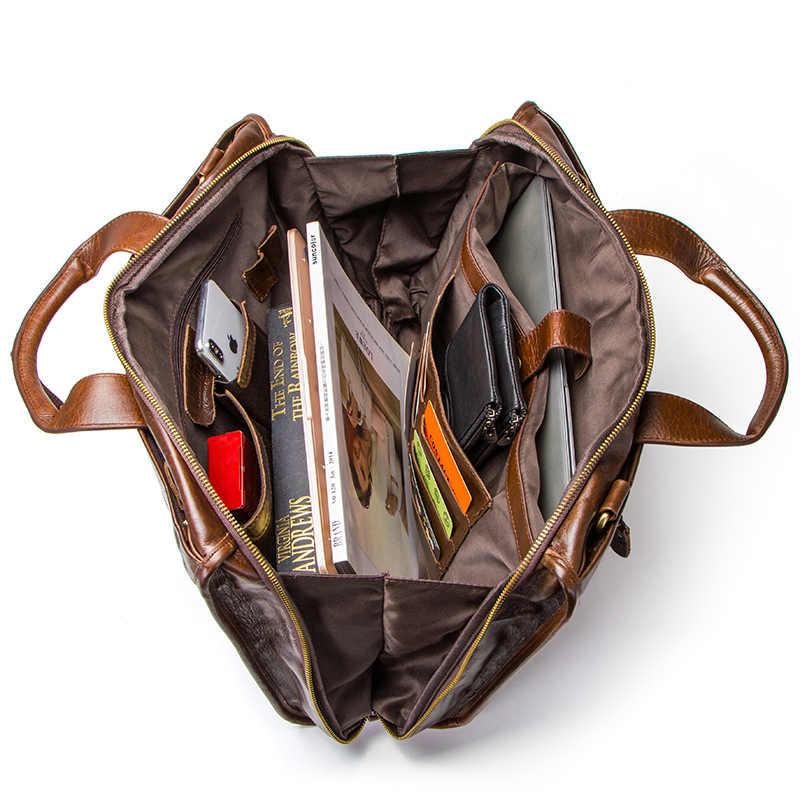 CONTACT'S Portfolios حقيبة خمر حقيبة لابتوب عالية الجودة جلد أصلي للرجال حقيبة ساع متعددة الوظائف الأعمال حقيبة يد
