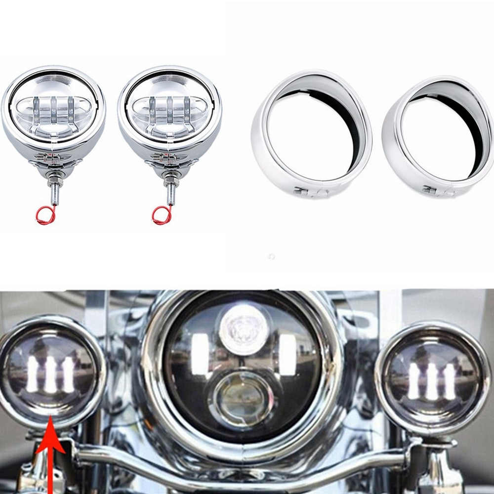 """4-1//2/"""" Universal Motorcycle Chrome 6 LED Auxiliary Passing Fog Light For Harley"""