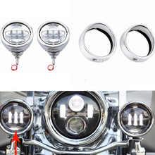 Для Аксессуары для мотоцикла Harley 4 1/2 «светодиодный Дополнительная лампа Корпус 4,5» козырек Стиль прохождения лампа отделка кольцо для Harley противотуманных фар