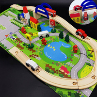 Kids DIY Wooden Racing Track Toys Railroad Railway Wooden Train Track Set Building Blocks Toys for children Gifts