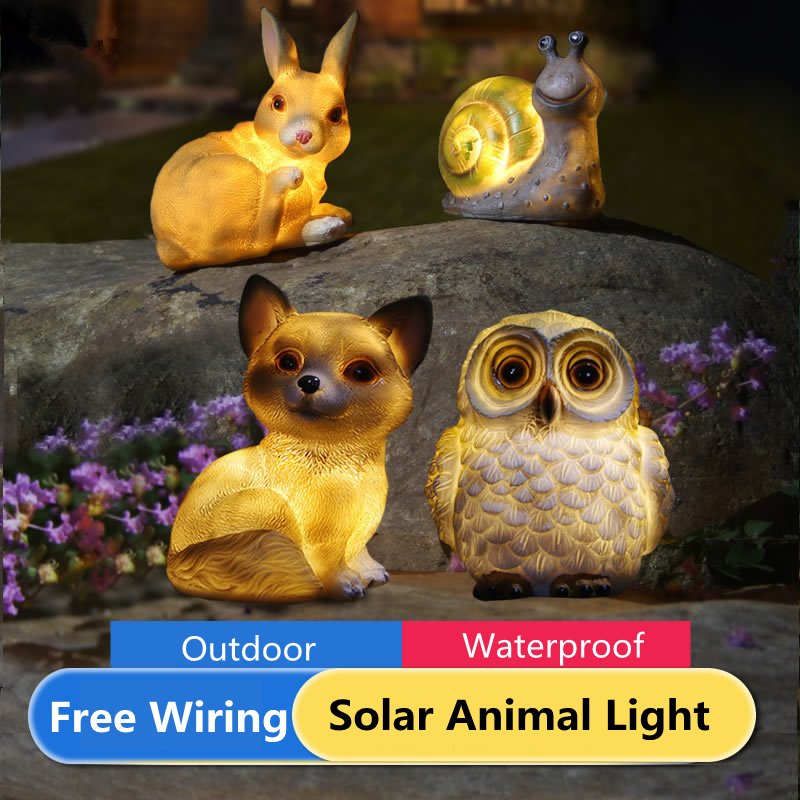 criativo led luzes solares para jardim decorationr coruja animais forma noite luzes gramado solar powered lampada