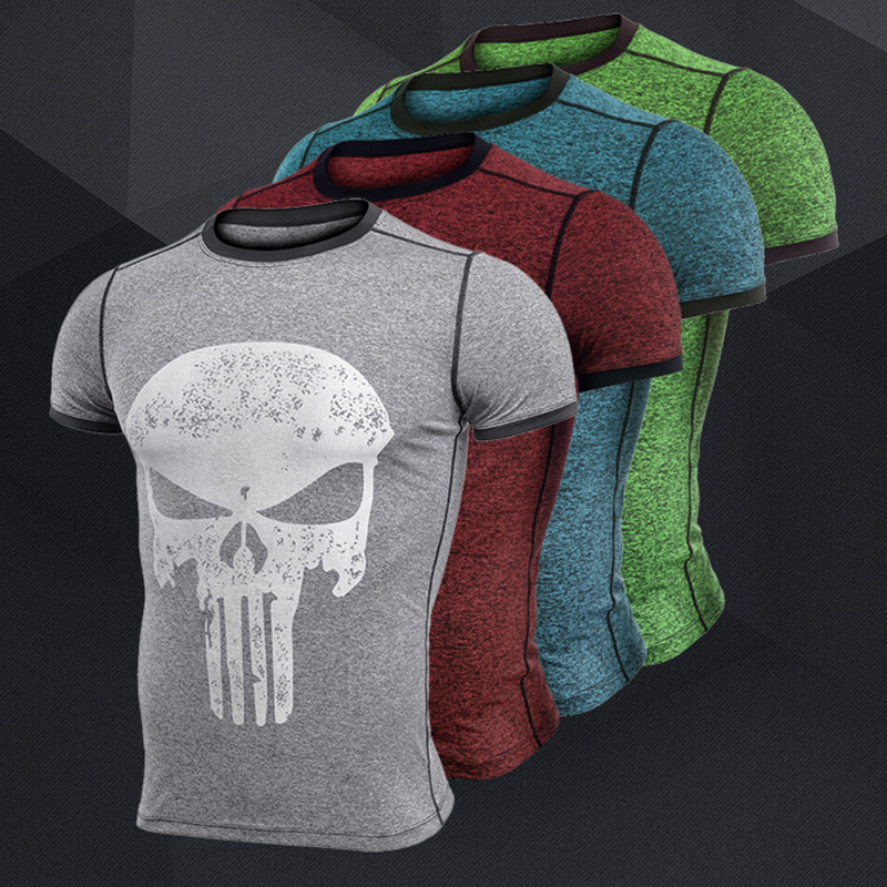 New fitness compression shirt men anime superhero punisher skull captain americ superman 3d t shirt bodybuilding crossfit tshirt-0