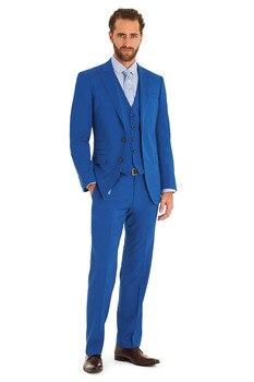 Slim Fit Groom Tuxedo Blue Groomsmen Peak Lapel Wedding/Dinner Suits Best Man Bridegroom (Jacket+Pants+Tie+Vest)B414
