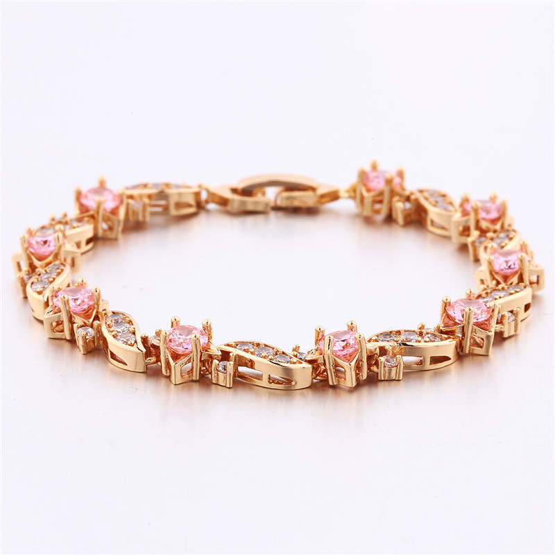 BUDONG 18cm Fashion Hand Bracelets for Women Silver/Gold Color Bracelet Pink Crystal Cublic Zirconia Jewelry Bangles XUL104 4