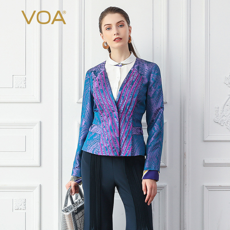 VOA Silk Jacket Women Purple Tunic Slim Short Coats Elegant Vintage Ladies Suit Autumn Outerwear Long Sleeve Large Size Jas W318