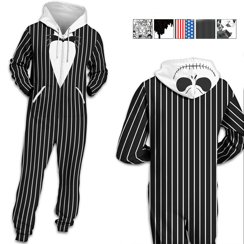 726f7523ed1d Centuryestar Hooded Onesie Adults Men Pijama Hombre Jumpsuit Mens Pajamas  Winter Pajamas Zipper Black White Men