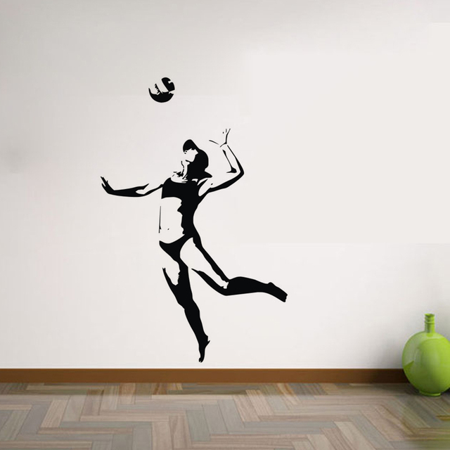 Silhouette Woman Playing Volleyball Wall Stickers Home Decor - How to make vinyl wall decals with silhouette